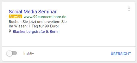 Screenshot: AdWords-Express Anzeige