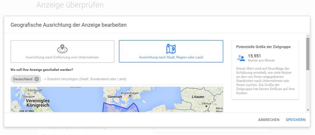 Screenshot: Festlegung der Geografischen Ausrichtung
