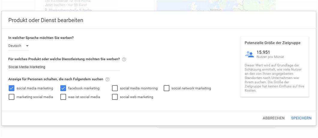 Screenshot: Auswahl der Suchwörter