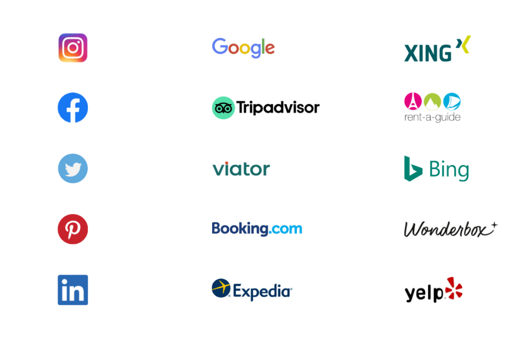 Online-Marketing-Tools und -Kanäle für Ihren Geschäftserfolg: XING, Rent A Guide, Bing, Wonderbox, Yelp, Expedia, Booking.com, Viator, TripAdvisor, Facebook, Instagram, Twitter, Pinterest, LinkedIn und Google.